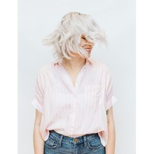Madewell Short-sleeve Tie-front Shirt Pink Stripe
